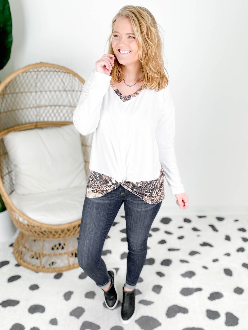 PLUS/REG Solid & Animal Print V Neck Top With Twist