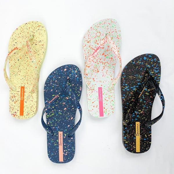 Paint Splatter Flip Flop Sandals (Multiple Colors)