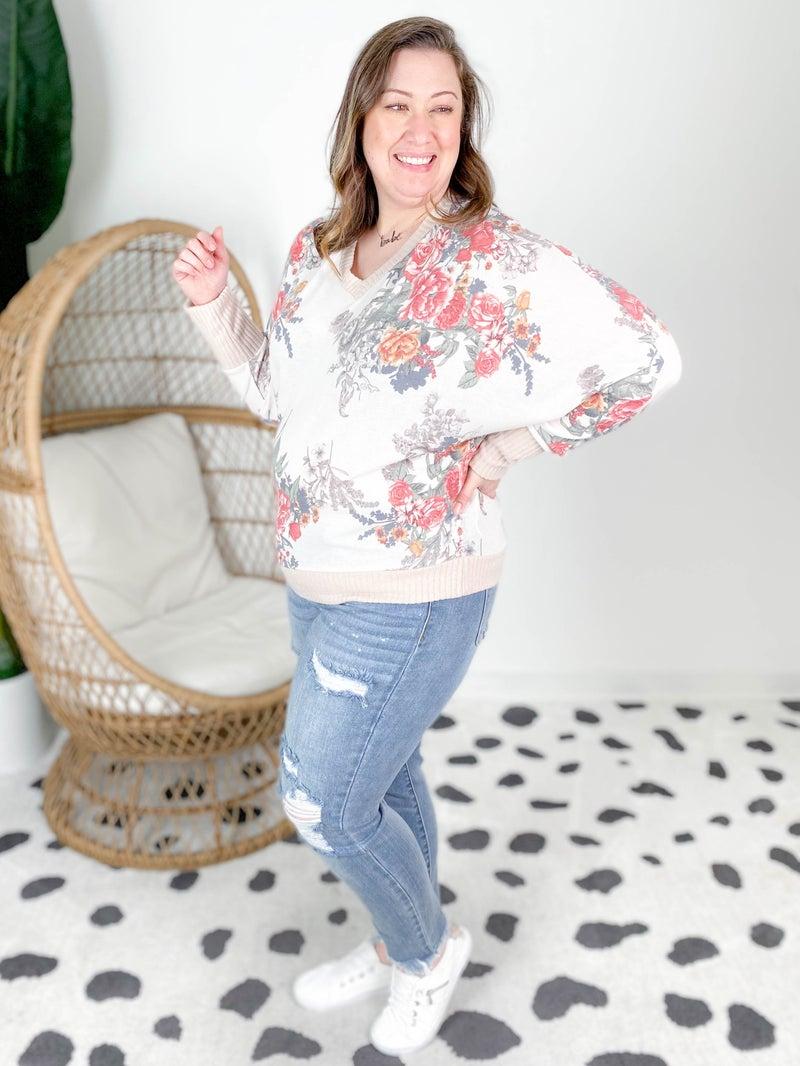 Plus/Reg Long Dolman Sleeve Floral V Neck Sweater