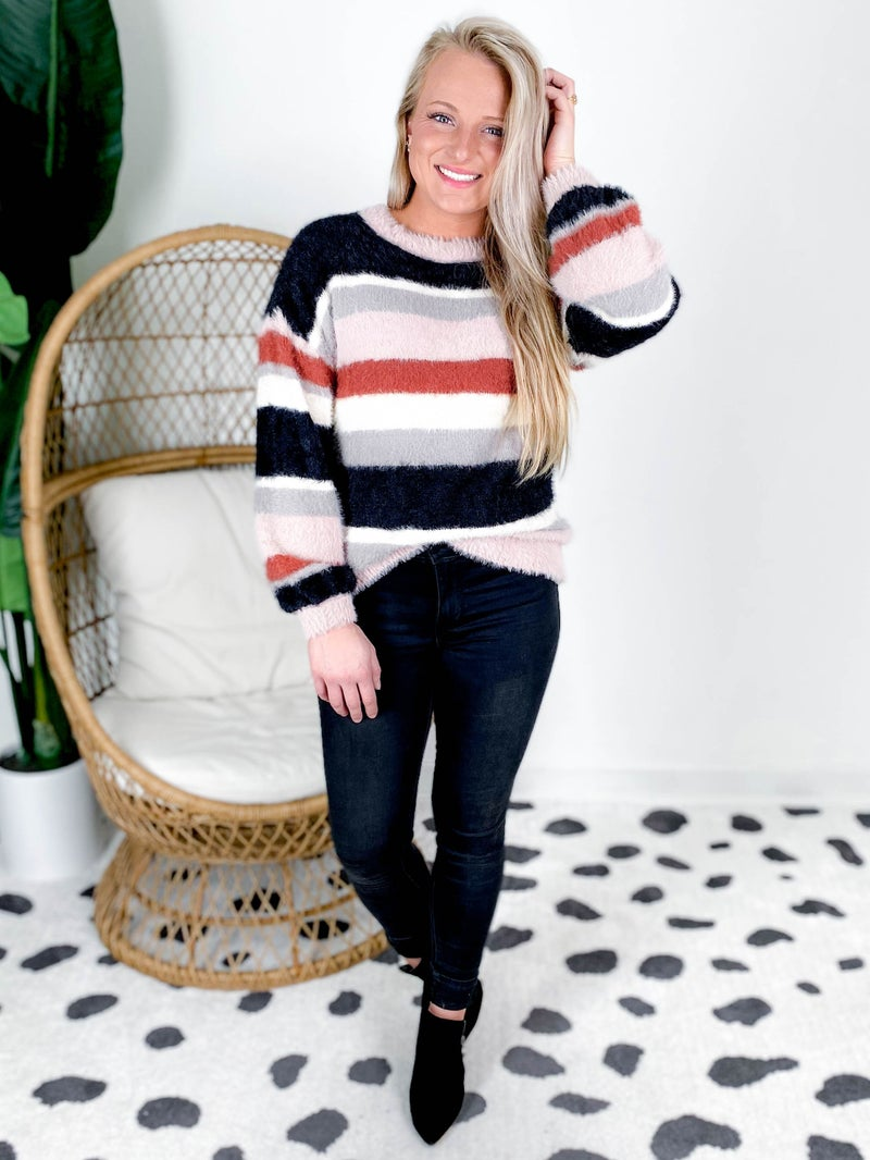 Color Block Fuzzy Soft Relaxed Fit Sweater