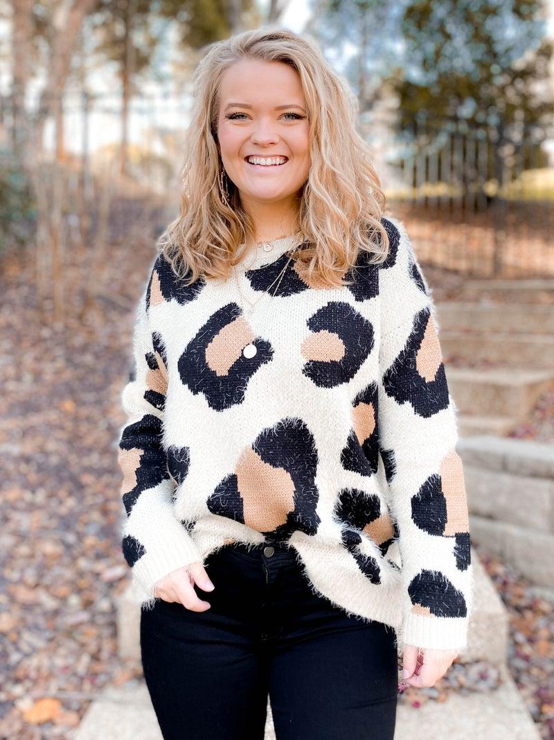 Fuzzy Leopard Sweater Top