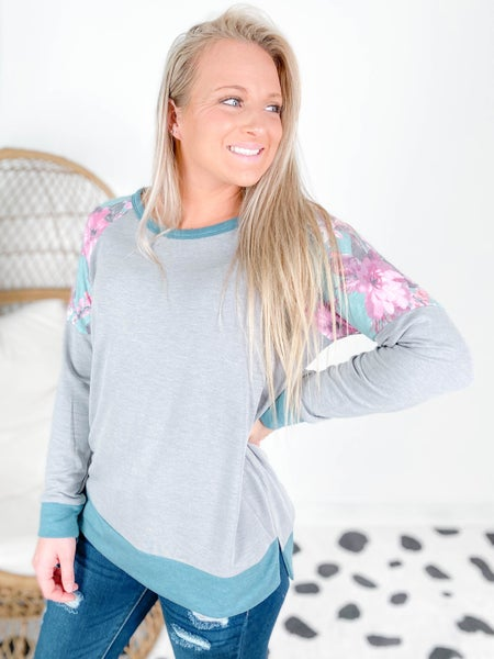 PLUS/REG Honeyme Charcoal Top with Floral Shoulder Detail