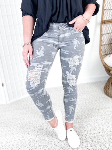 Distressed Grey Camouflage Skinny Jeans