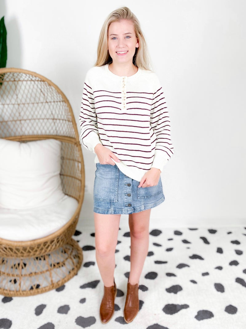 Stripe Button Pullover Sweater (Multiple Colors)