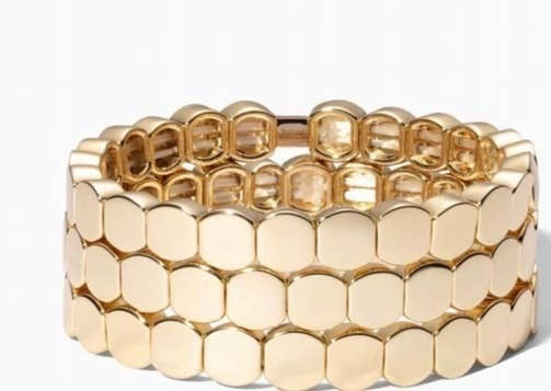 Gold Circle Enamel Tile Bracelet