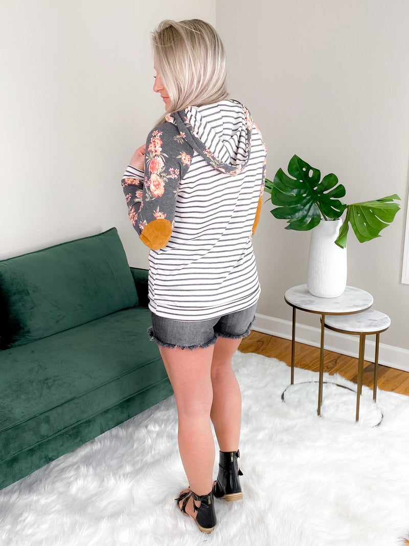 Striped Long Sleeve Floral Hoodie With Elbow Patches