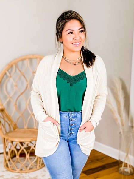 PLUS/REG Long Sleeve Cardigan With Pockets
