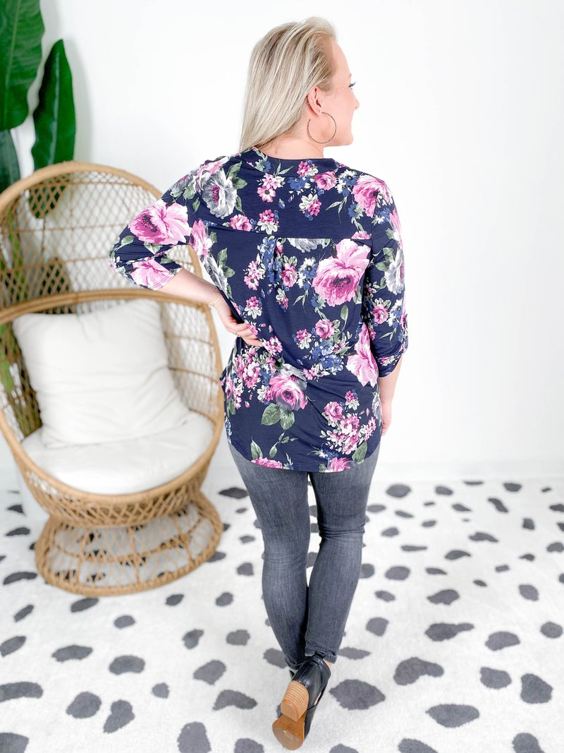 PLUS/REG Navy Floral Mandarin Neck Top