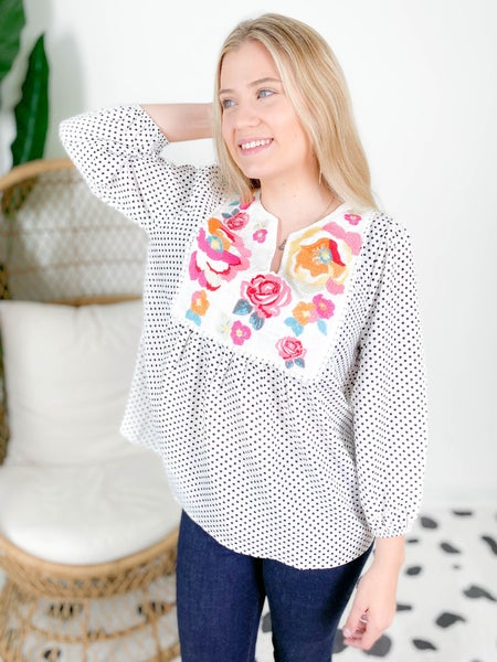 PLUS/REG Ivory Polka Dot Top With Embroidery Detail