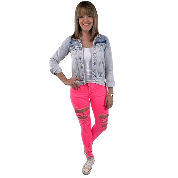 Hot Pink Distressed Vibrant Skinny Jeans