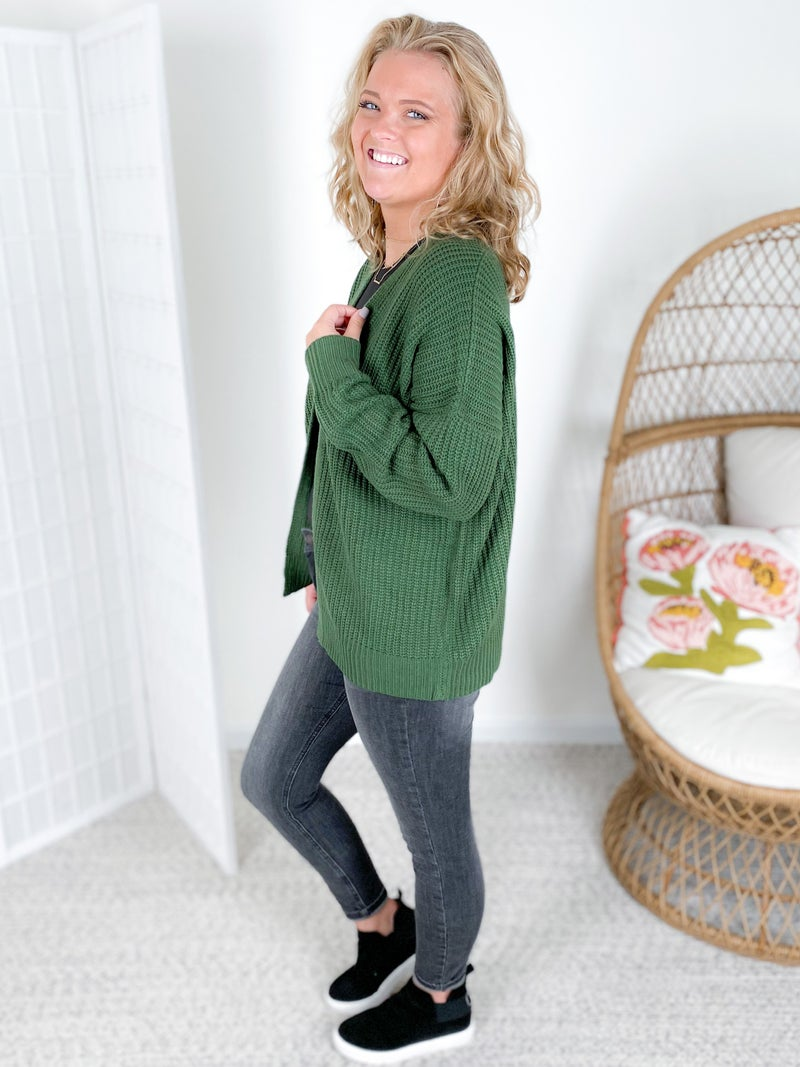 Drop Shoulder Open Cardigan Sweater (Multiple Colors)