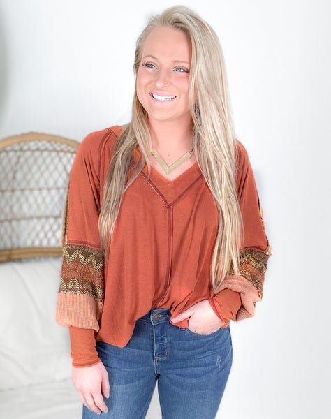 POL V Neck Long Sleeve Top With Embroidered Sleeve Detail (Multiple Colors)