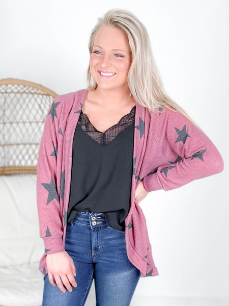 BLACK FRIDAY! PLUS/REG Honeyme Mauve Open Front Star Pattern Cardigan