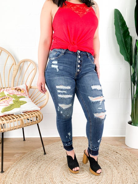 C'est Toi Wild Honey Pie Distressed Skinny Jeans