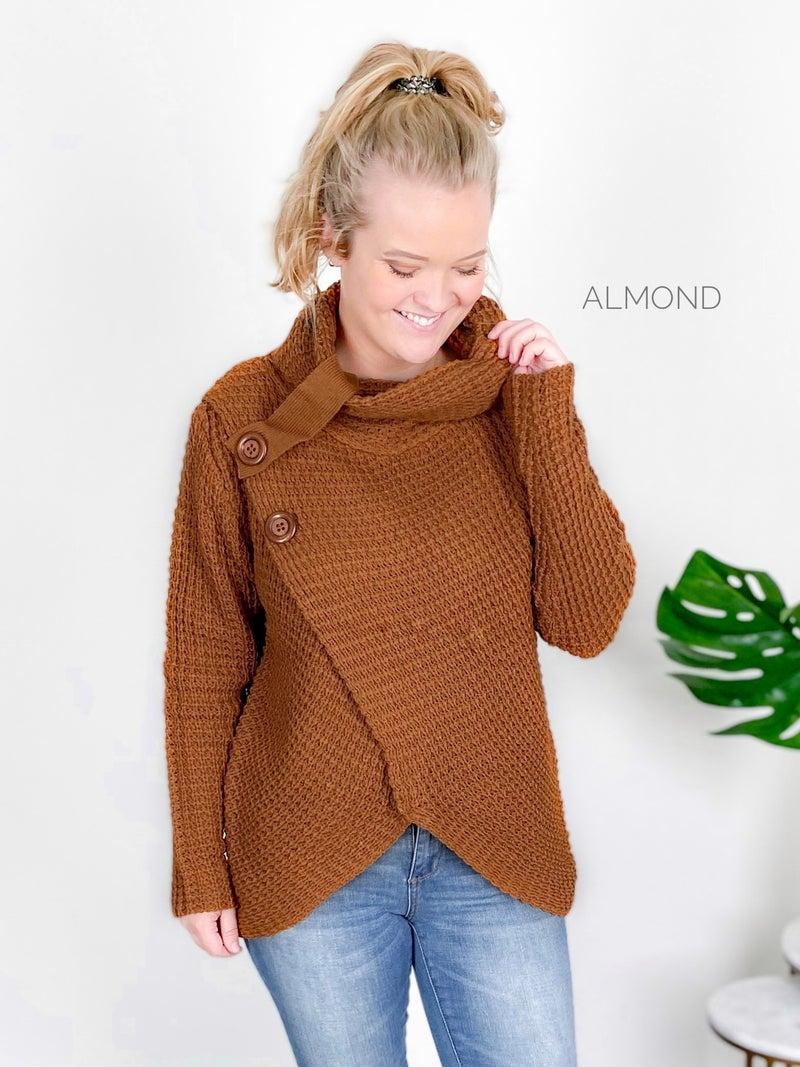 Asymmetrical Hem Wrap Sweater (Multiple Colors)