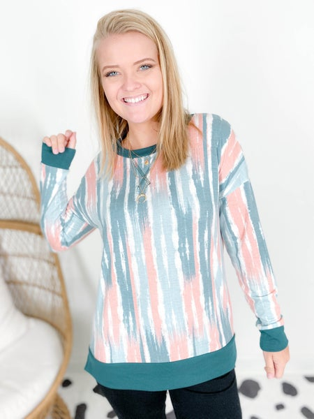 PLUS/REG Honeyme Abstract Painted Stripe Top