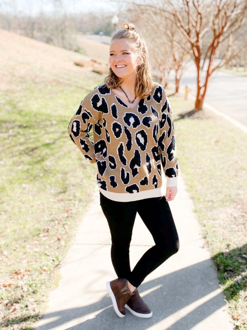 Leopard Print V Neck Sweater Top (Multiple Colors)