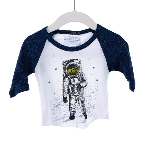 Kids  and Infant Astronaut Heathered Blue and White Raglan Graphic T-Shirt