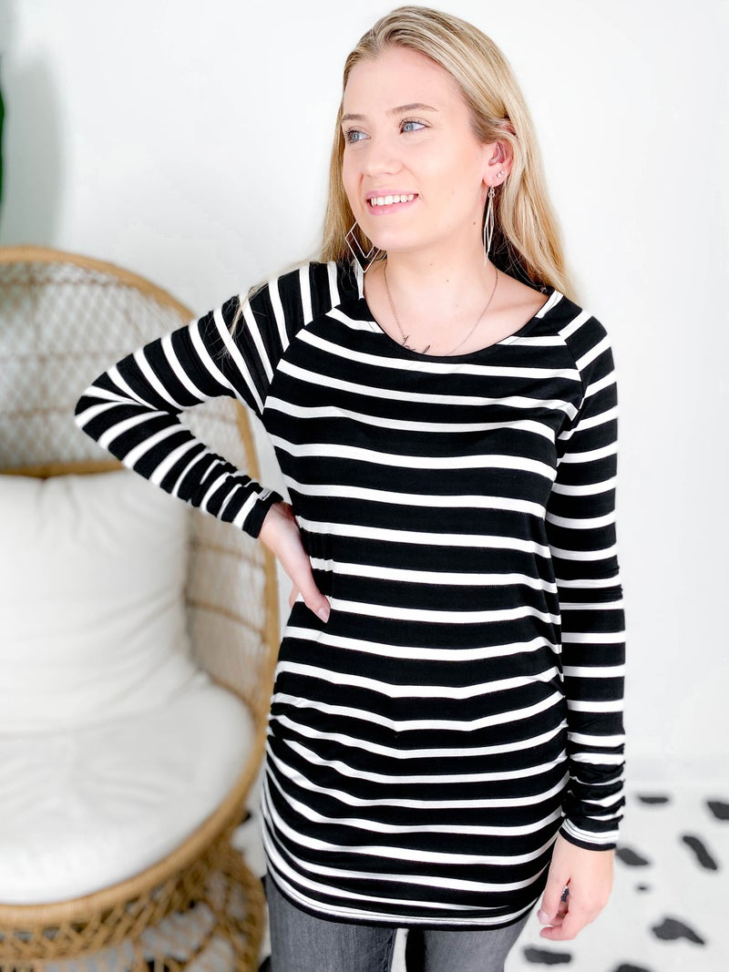 Ruched Stripe Tunic Top (Multiple Colors)