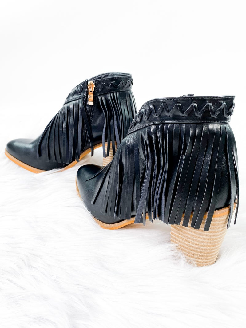 Heeled Fringe Booties (Multiple Colors)