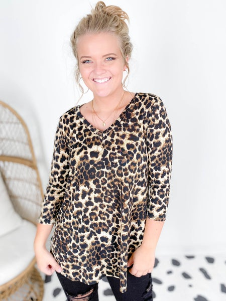 PLUS/REG Honeyme V Neck Leopard Top