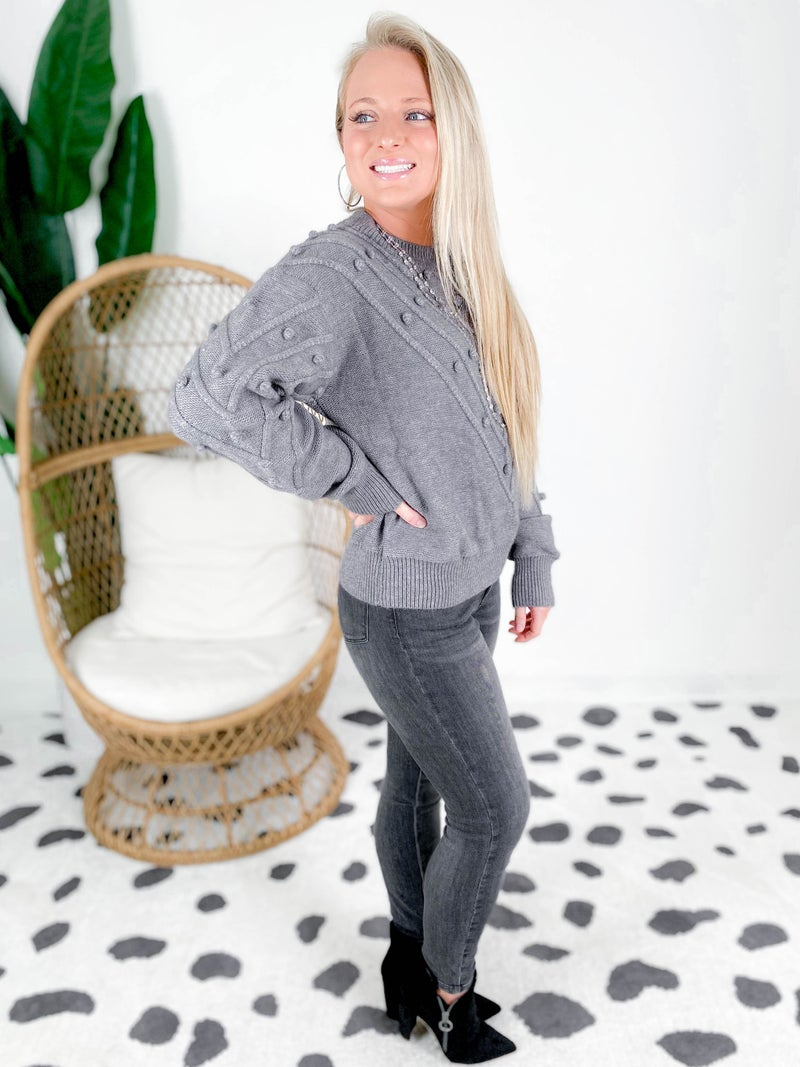 Pom Pom Chevron Knit Sweater (Multipe Colors)