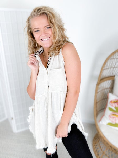 Sleeveless Button Front Tunic with Animal Print Detail (Multiple Colors)
