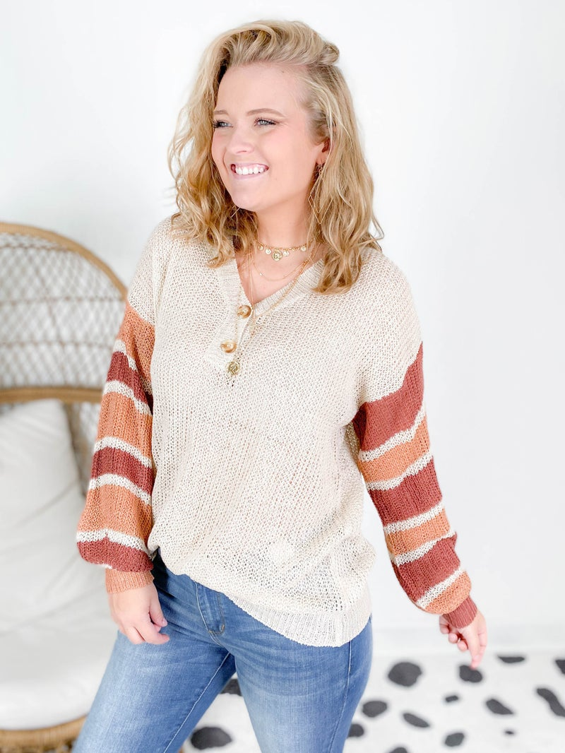 Lightweight Stripe Sleeve Sweater with Button Detail