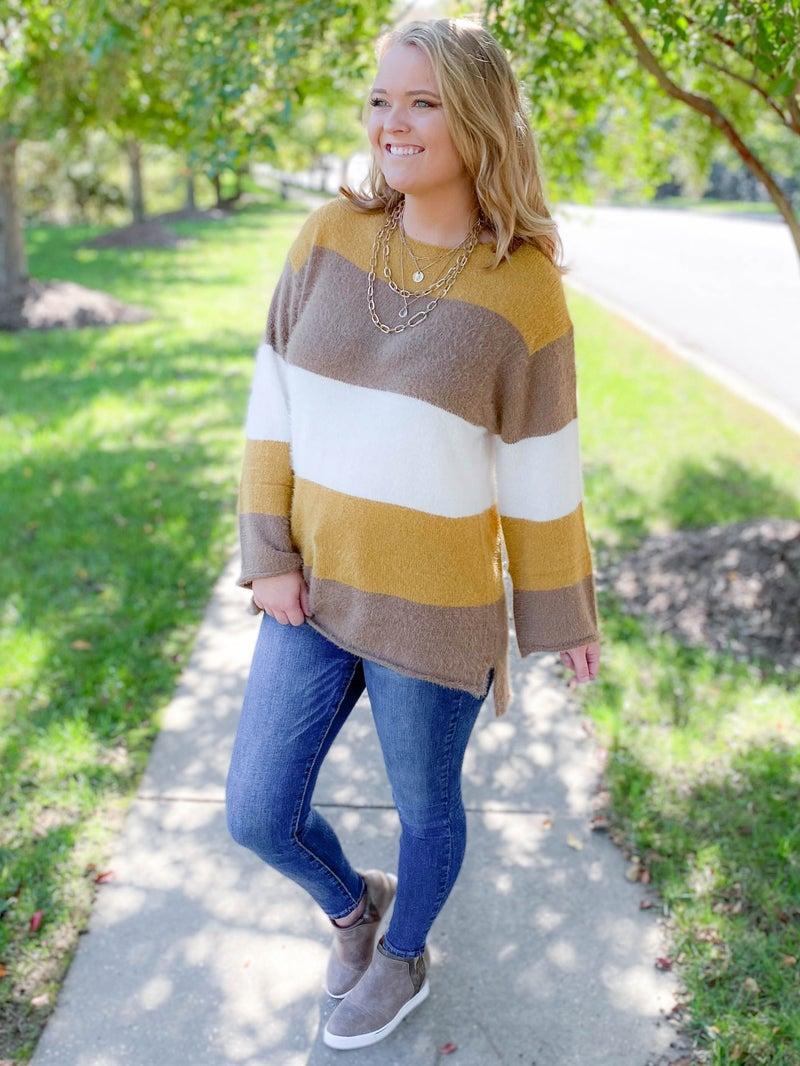 Color Block Stripe Sweater (Multiple Colors)