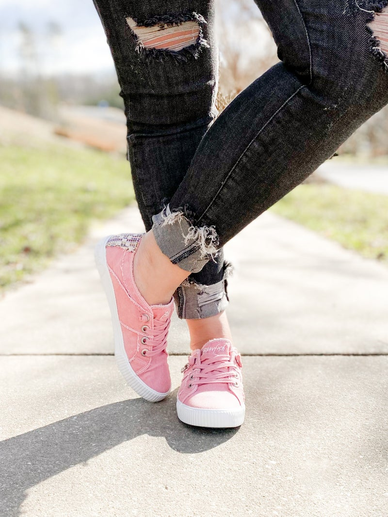 Dusty Pink Blowfish Sneakers With Zipper Detail