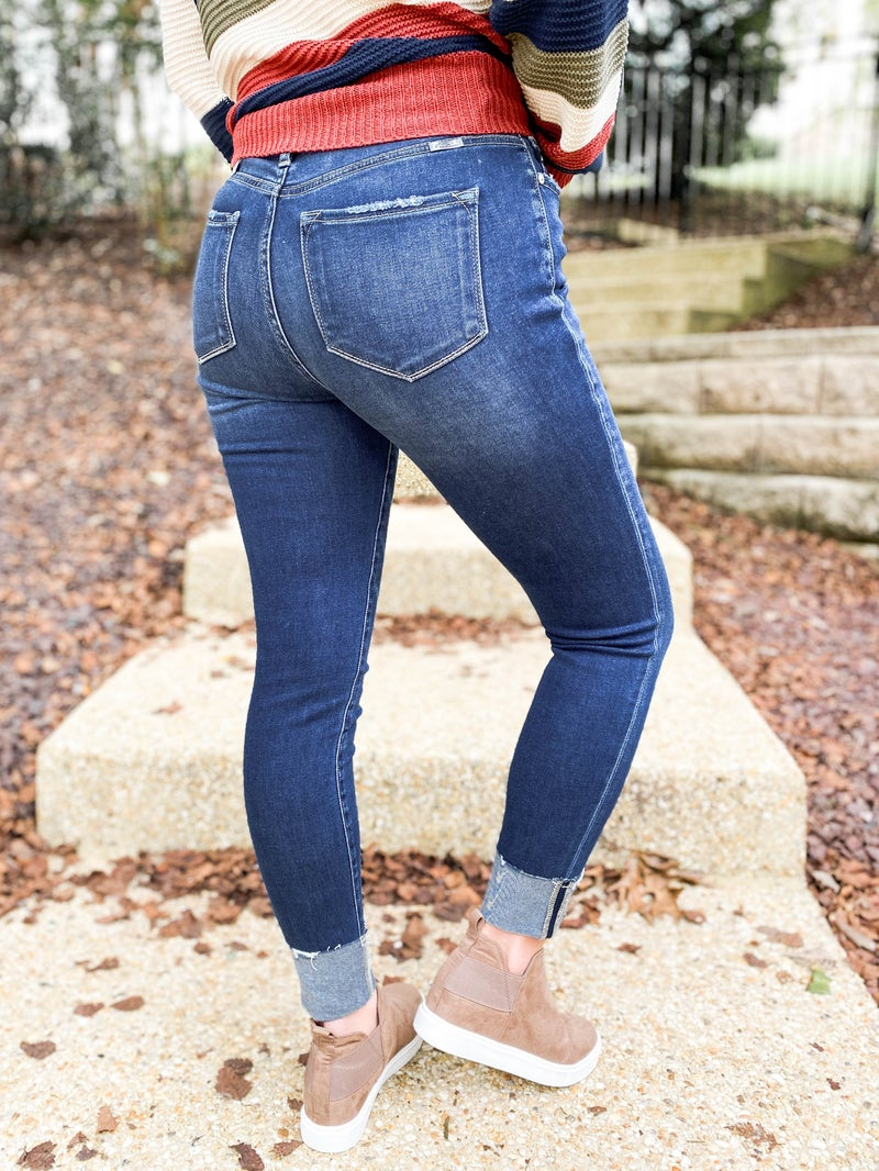 KanCan  Bend and Snap Raw Hem Skinny Jeans