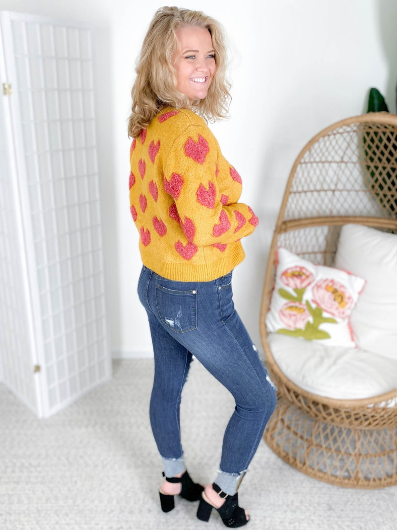 Fuzzy Mustard & Hot Pank Heart Sweater