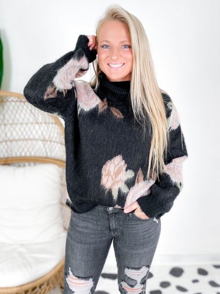 Black Floral Turtle Neck Sweater Top