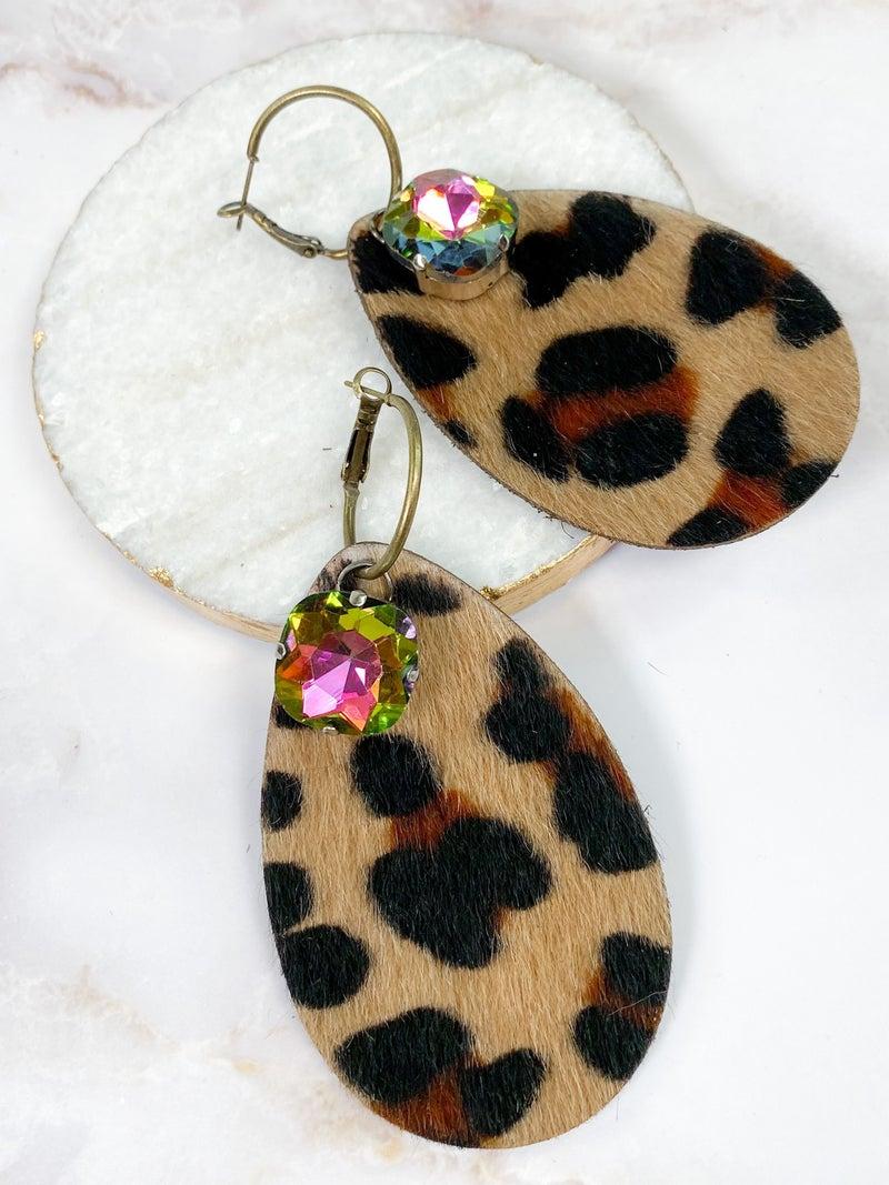 Keep it Gypsy leopard tear drop earring