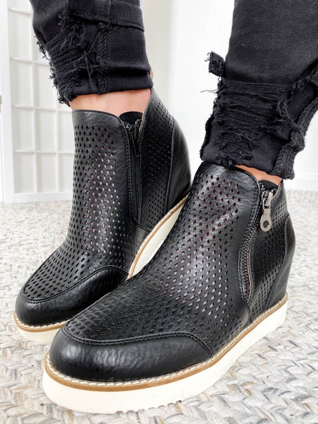 Perforated Wedge Heel Sneaker (Multiple Colors)
