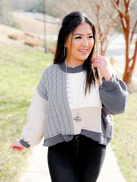 POL Charcoal Color Block Sweater