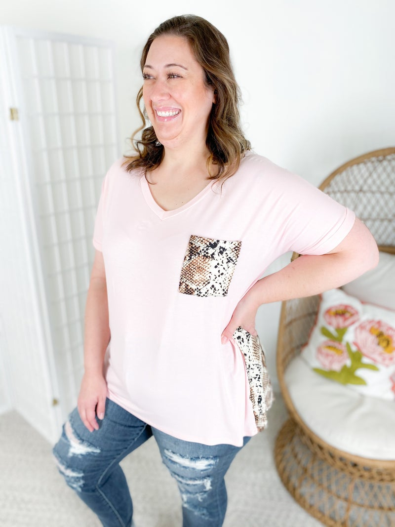 Blush & Snake Print Pocket Top with Rolled Sleeves