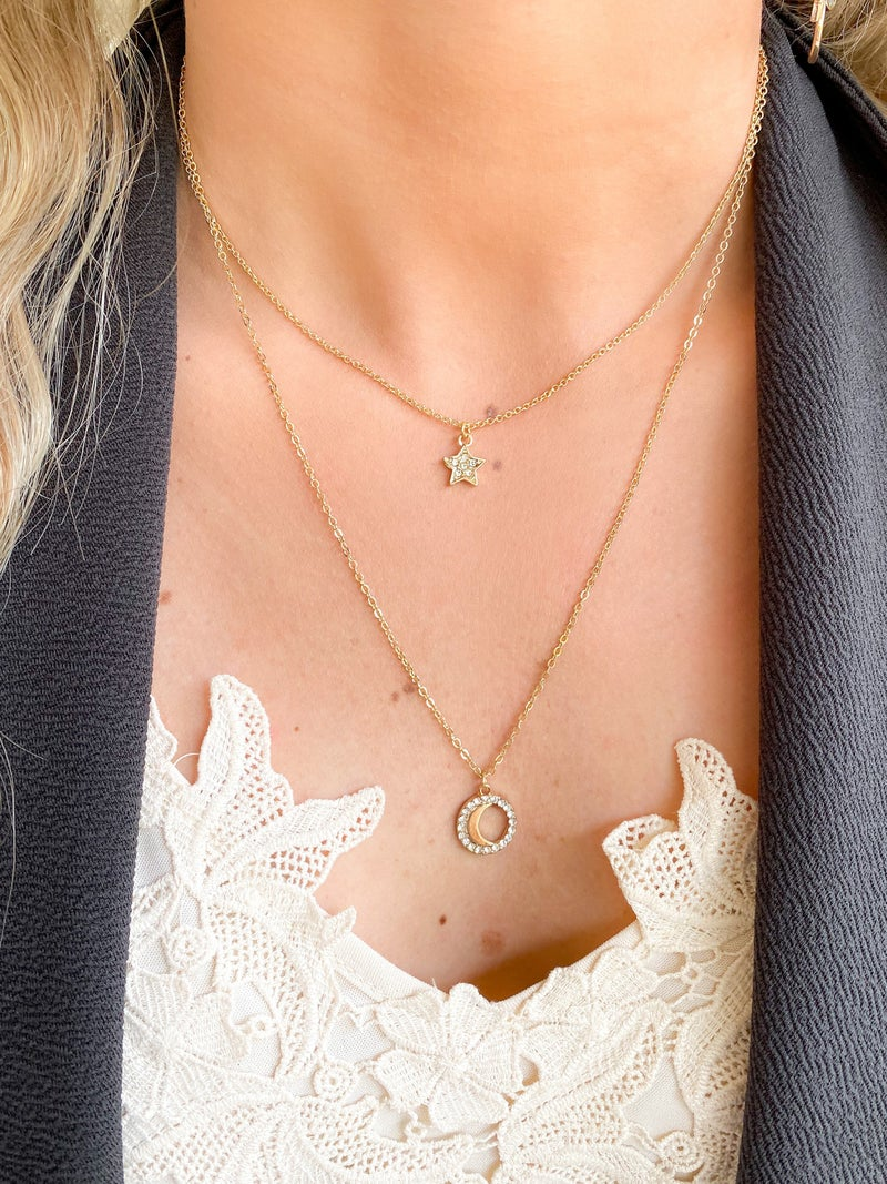 Gold Rhinestone Star & Moon Pendant Necklace