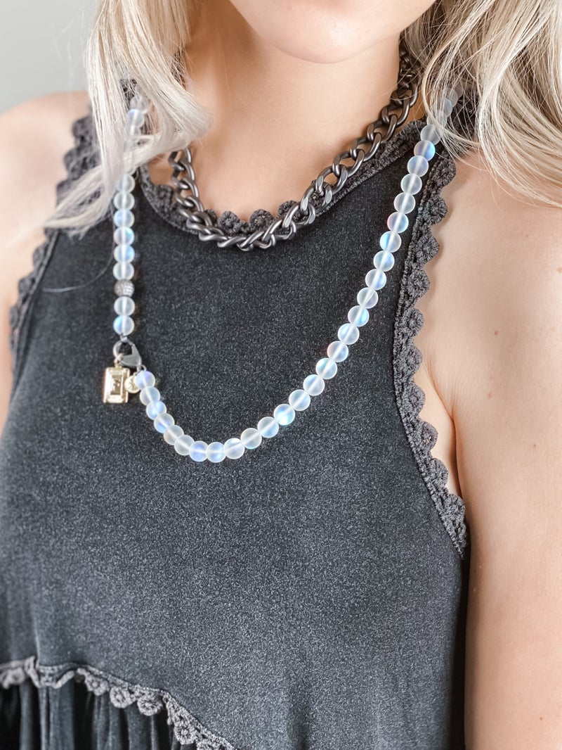 Karli Buxton 36″ Iridescent Moonstone Necklace with Gunmetal Accent