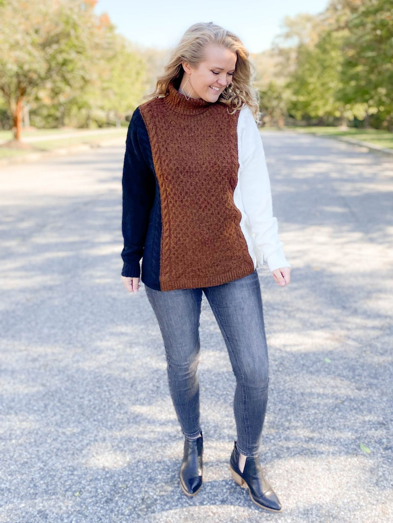 Colorblock Cable Knit Turtleneck Sweater