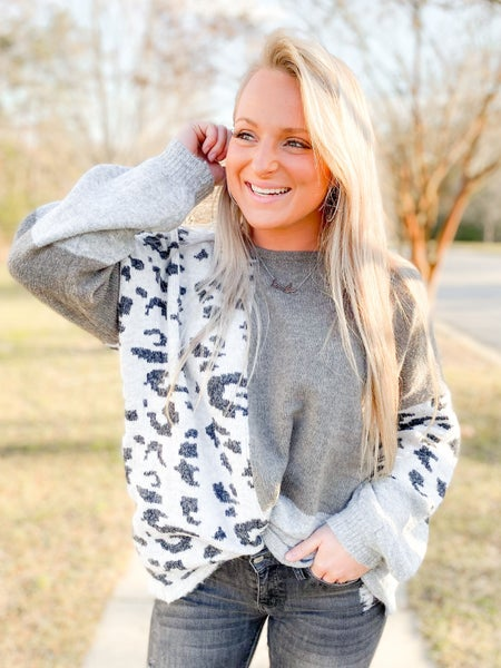 Easel Long Sleeve Color Block Sweater With Leopard Detail