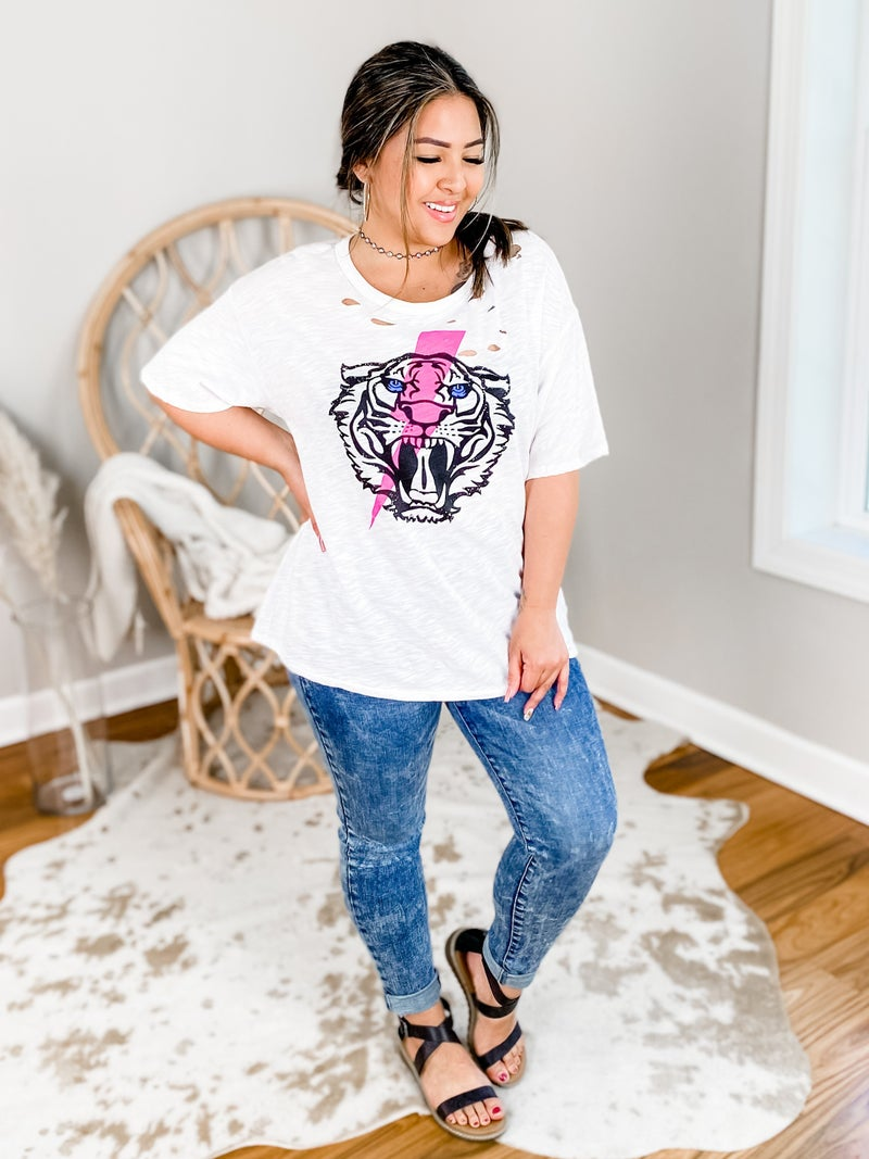 Short Sleeve Tiger And Lightning Distressed Graphic Tee (Multiple Colors)