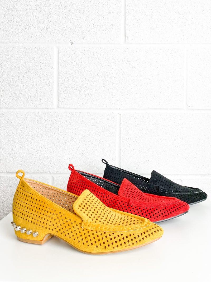 Laser Cut Studded Loafer (Multiple Colors)