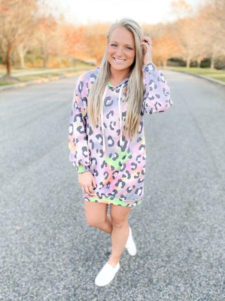 PLUS/REG Long Sleeve Cheetah Print Knit Dress