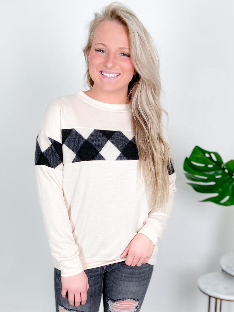 PLUS/ REG Pullover With Buffalo Plaid Accents (Multiple Colors)