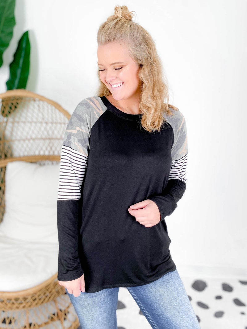 Camo & Stripe Long Sleeve Top