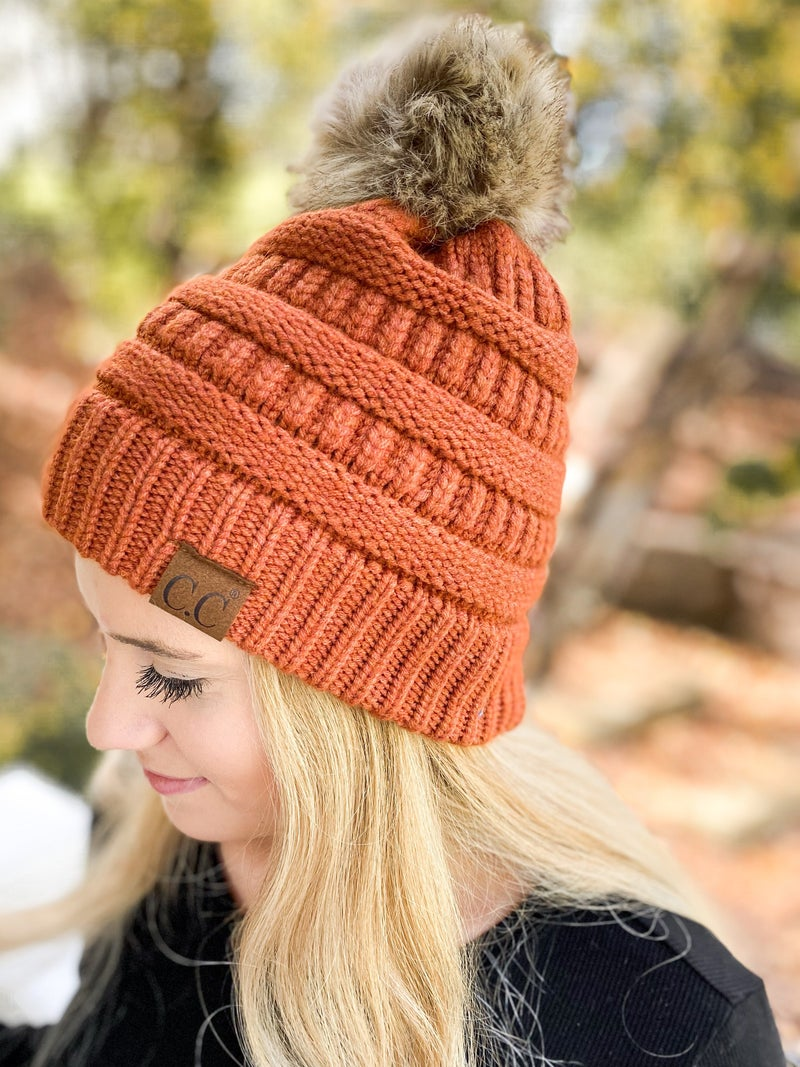 CC Soft Yarn Knit Beanie with Natural Pom (Multiple Colors)