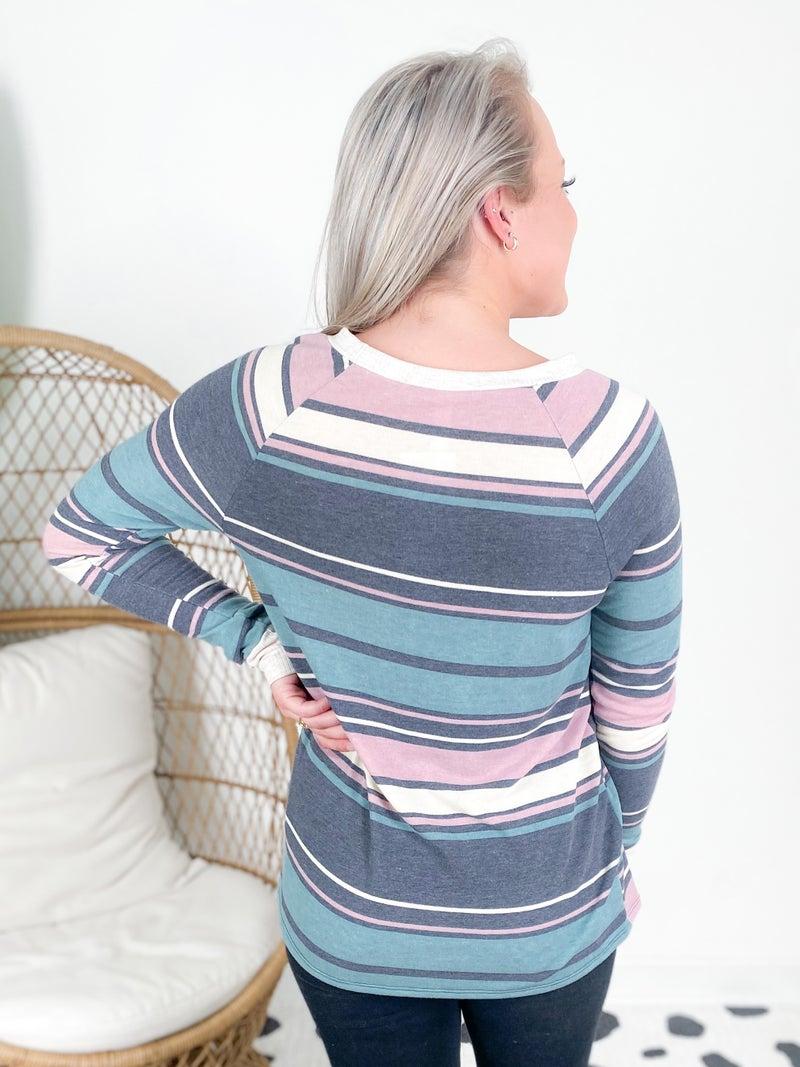 Teal & Mauve Multi Stripe Top