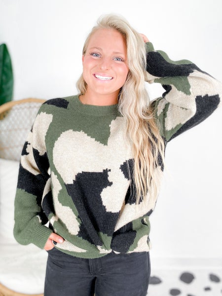 Bubble Sleeve Camouflage Sweater