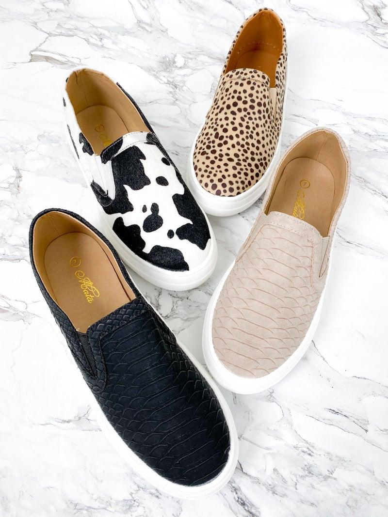 Textured Animal Print Slip On Sneakers (Multiple Colors)